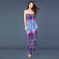 Bohemian Dresses strapless maxi dress - Women Bohemian Flora Printed Strapless Chiffon Long Beach Dresses Fashionable and Elegant Maxi Casual Dress Sexy Dress
