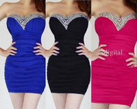 Cheap Cheap Dress Sexy Cocktail Dresses 2014 Crytal Black Fuchsia Pink Black White Sheath Strapless Short Prom Dress Party Gowns Free Custom Made