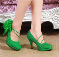 Wholesale 2015 Bridal Fashion Green Red Wedding shoes Bridesmaid High Heels Party Prom evening wedding shoes flower shoes