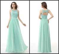 Wholesale 2015 Cheap Prom Dresses Under Long Mint Green Chiffon Backless Lace Styles Hot Bridesmaid Dresses Vestidos De Fiesta LA In Stock