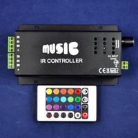Wholesale 2015 Rgbw Led Dimmer Dc12 v w key Ir Remote Control Aluminum Led Rgb Music Controller for Audio Sound Sensitive for Strip Light
