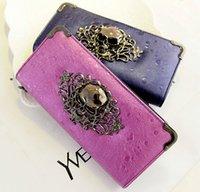 skull purses - Vintage Retro Women Skull Leather Wallet Pockets Card Clutch Zipper Long Skeleton Bone long Purse For Women