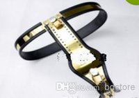 Wholesale Newest Female Fully Adjustable T type Titanium steel chastity belt device with One Locking Cover Removable