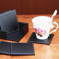 leather coaster - 6pcs Best Price Best Promotion Double Deck Black Leather Placemat Coasters of Cup Mat Pad PU Leather Fit For Home