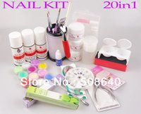 beginners french - in1 Beginner Full Set Acrylic Nail Kit With Cuticle Oil French Tips Liquid Brushes Glue File Decoration Nail Care Tool