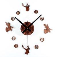 adhesive composition - European retro pastoral style wooden wall clock DIY deer diy wall clock mute wall of self adhesive composition