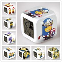 Wholesale 2015 New Children Clock D Cartoon Digital Desk Table Alarm Clock Daily Dlarms Colors Thermometer Change Glowing Clocks Minions Design