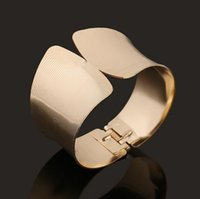 armlets - Vague Classic Gold Bangle Punky Hollow Out Cuff Wedding Bracelets Fashion Armlets Jewelry Big Gold Plated For Women