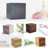 Wholesale Hot Sale Modern Wooden Wood Digital LED Desk Alarm Clock Thermometer Timer Calendar For Sale
