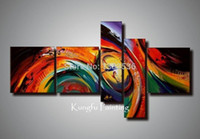 Cheap 100% hand painted abstract 5 panel canvas art living room wall decor painting modern home decoration kungfu painting(no frames)