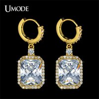 emerald cut diamonds - UMODE Yellow Gold ct Emerald Cut Cubic Zirconia Diamond Dangel Earrings For Women Christmas Gift UE0132A