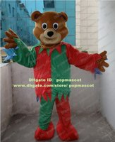 Wholesale Brand New Brown Bear Teddy Bear Elf Mascot Costume Wearing Green And Red Clothes Mascotte Mascota Adult Suit No Free Ship