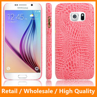alligator skins - For Samsung Galaxy S6 S6edge S7 S7edge iPhone6 s Plus sPlus Crocodile Grain Alligator Leather Back Cover Cases Hard Protector Skin Mobile