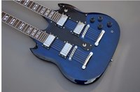 Cheap New Hot, top quality factory custom double neck blue color 12 strings 6 string electric guitar free shipping