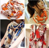 Wholesale 2015 High Quality Brand New Style Women s Long Silk Scarf chiffon scarves Velvet Chiffon Printed Letter Scarf Shawl