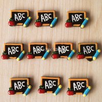 apple abc - 10pcs ABC Letter in the Blackboard Apple Pencil Back to School Students Cabochons Resin Flatbacks Scrapbooking Hair Bow BXT345