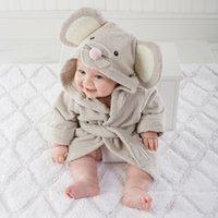Wholesale 100 cotton cute Infant baby bathrobe Newborn boy girl bath towel cartoon mouse Summer blankets Hooded Spa Robe Shower Favors
