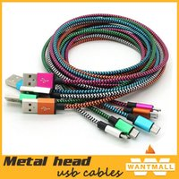 Wholesale 2015 new dual color metal interface nylon Fabric braided data sync mirco usb cable usb charging charger cables for Samsung S6 phones