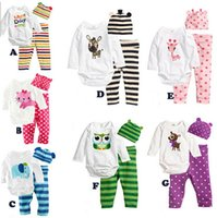 Wholesale Free DHL Baby rompers long sleeve cotton baby infant cartoon Animal newborn baby clothes romper hat pants clothing set