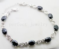 Wholesale Sapphire Chain bracelet Natural real sapphire sterling silver Fish bracelet Perfect Jewelry DH