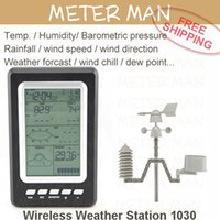Cheap Professional Brand New Temperature Humidity Rain Pressure Wind Speed Wind Direction Wireless Weather Station Weather Center 1030