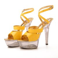 sandal fashion lady shoes - Yellow High Heels Platform Lady Formal Dress Women s Shoes Fashion Sandals Dance Shoes Wedding Shoes
