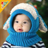 Wholesale Crochet Puppy Hats - 2015 hot Baby crochet Hat Boys Girls Children Knit Winter Warm cap Puppy Beanie hat free ship
