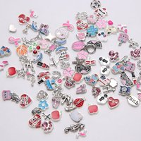 assorted components - Assorted models and colors floating locket charm DIY enamel crystal loose beads jewelry component cheap