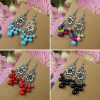 Wholesale Gypsy Tibetan Silver Vintage Retro Drop Dangling Simulated Turquoise Earrings Fashion Jewelry Christmas Gift for momen E83
