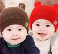 Wholesale Hot New Winter cute little horns hat baby hat Diamond hat child hat tide fei