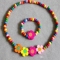 Cheap Children Colorful Wood Beads Jewelry Set Kids Girls Flower Necklace & Bracelets Fashion Princess Party Dress Accessories Beautiful Gifts Y14