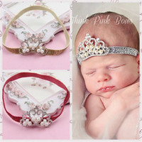 Wholesale Fashion Baby girls headbands Infant Kids Shiny Tiara Headbands Bow Hairbands Children Hair Accessories headwear Head piece accessories KHA90