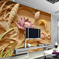art woodcuts - 3D Woodcut Lotus Flower Wallpaper Personalized Custom Wall Murals Photo wallpaper Kids Bedroom Living room Office Shop Art Room decor Silk