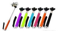 Wholesale FREE DHL in Extendable Handheld Monopod Selfie Stick Tripod Phone Camera Self Portrait Clip Holder for iPhone Cellphone Smartphone