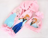Wholesale Cartoon Frozen Winter Hat And Scarf Sets Princess Kids Snow Queen Elsa Anna Girl Scarves Winter Warm Cap Frozen Hat Scarf gift