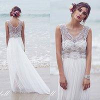 anna fashion designer - Fashion Designer Wedding Dresses Anna Campbell Sexy Sheer Sparkly Beaded Crystal Scoop Neck Elegant Beach White Chiffon Bridal Gowns