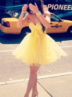 adorable homecoming dresses - Adorable Daffodil Bead Sweetheart A Line Short Mini Homecoming Dresses No Sleeve Chic Cocktail Dress Short Party Prom Gowns