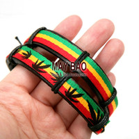 asian pots - Bob Marley bracelets Reggae Rasta Stripe wrist Band Bracelet Wrist Bracelet Jamaica pot bracelet pc