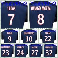 Wholesale Top Fast Youth Kids PARIS SILVA IBRAHIMOVIC MATUIDI Lucas PSG PASTORE Blue LAVEZZI Soccer Jersey futbol shirt