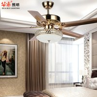 Wholesale Minimalist vintage art deco crystal ceiling fan with light Bronze Chandelier LED lights brief ikea dining room restaurant living room v