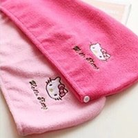 Wholesale Hello Kitty Hair Quick drying Cap Cute Headbands Snood Pink Red Color