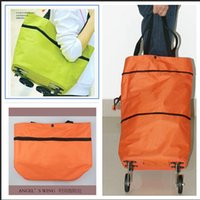 Cheap Free Shipping Portable Shopping Cart Foldable Shopping Trolley Case Tote Bags With Wheels Rolling Folding Storage Bag Frozenc1078 100pcs