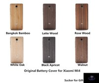 battery replacement gifts - Original Wood Case for Xiaomi Mi4 Bamboo Back Battery Cover for Xiaomi Mi Housing Replacement Spare Parts Sucker for Gift