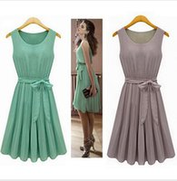 women dress - New Summer Casual Women Chiffon Dresses Sleeveless Vest Pleated Dress with Sashes Green Brown S M L XL
