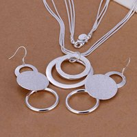 Wholesale 925 Sterling Silver Jewelry Set Fine Jewelry Nickle Free Antiallergic Double O Two Piece Wedding Jewelry Set cex aipg EH260