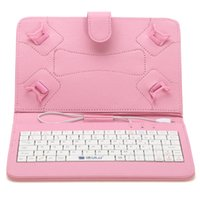 Wholesale 7 inch Mirco USB Keyboard Case PU Leather Folding Folio Wallet Shape Stand Smart Cover Cases for Inch Tablet PC Colors