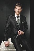 Wholesale New Arrival Slim Fit Black Arabic Handsome Wedding Ceremony suit Groom Tuxedos Groomsman Suit Jacket Pants Tie Vest
