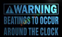 advertising clocks - LN873 TM Warning Beatings Around the clock Neon Sign Advertising led panel jpg