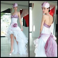 Wholesale Halter Taffeta and Tulle Short Front Long Back Corset High Low Purple and White Bridal Wedding Gowns Dresses