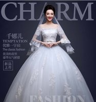 Wholesale Bride wedding Dresses The New Winter Korean Word Shoulder Neat Dress Long Tail